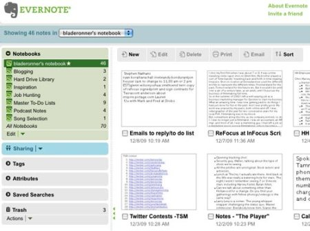 Screenshot from my online version of Evernote.
