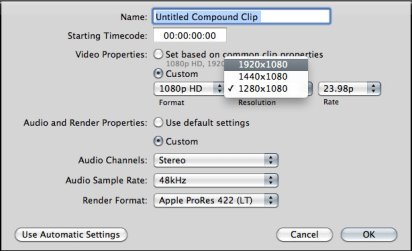 You can create a new compound clip and apply parameters, just as you would a project.