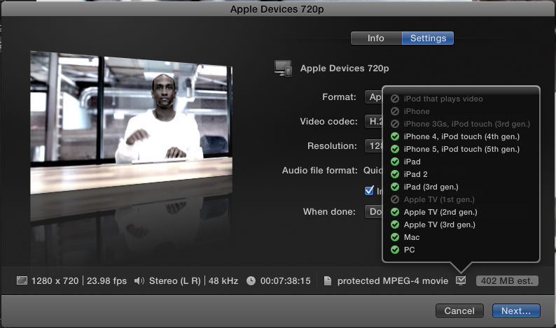 One of the nice features of FCPX export menu, is the ability to see which devices will be compatible with the settings you choose.